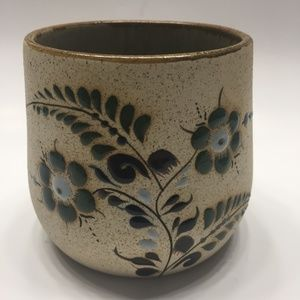 Mexico Pottery Mug Signed Hand Painted Sandstone